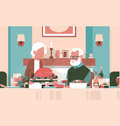 Happy thanksgiving elderly couple sitting table vector