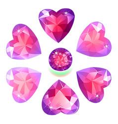 Heart cut gemstone shape set isolated on white vector