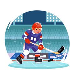 hockey player running character stadium background vector image
