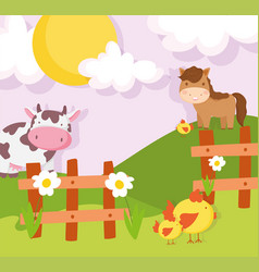 Horse cow chickens wooden fence meadow farm vector