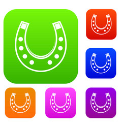 horseshoe set color collection vector image