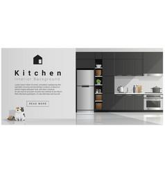 House interior scene modern kitchen background vector