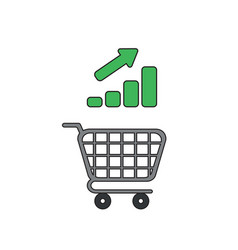 icon concept shopping cart with bar graph up vector image