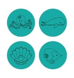 Icon set over circles Sea life design vector