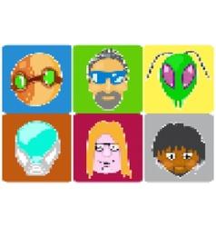 Icons of avatars pixel art vector