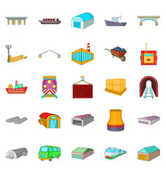 industry icons set cartoon style vector image