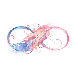 infinity symbol with pink feather vector image