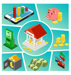isometric banking and finance composition vector image