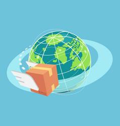isometric cardboard box flying around world vector image
