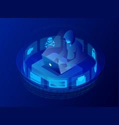 isometric internet hacker attack vector image