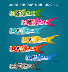 Japan fish koinobori flag set vector