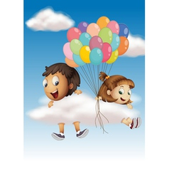 Kids in the sky vector image