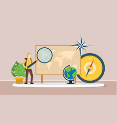 learn geography concept with men explorer suit vector image