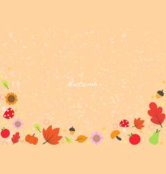 leaves pumpkin pare apple and mushroom frame vector image