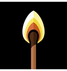 Lighted safety Match on Black Background vector image