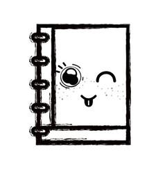 Line kawaii cute funny notebook tool vector