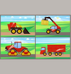 Loader and grain truck set vector