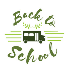 Logo for school bus tag with green bus emblem vector