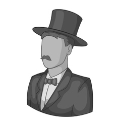Male avatar in suit with hat icon vector