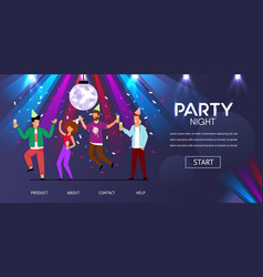 Man woman friends dance party night vector