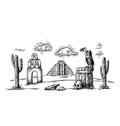 Mexican desert landscape with griffin on barrel vector image