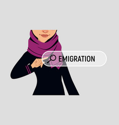 Muslin woman is writing emigration in search bar vector