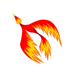 Mythical phoenix flaming bird flying vector