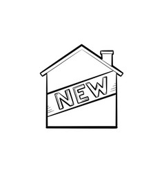 new house hand drawn outline doodle icon vector image