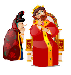 old woman persuades king to think vector image
