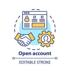 Open bank account concept icon savings idea thin vector