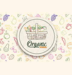 organic vegetable food label with green fruit icon vector image