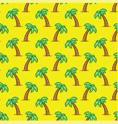 Pattern tropical palm tree on yellow background vector