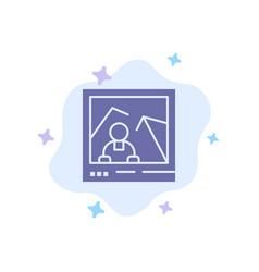 Picture image landmark photo blue icon on vector