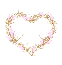 Pink Equiphyllum Flowers in Heart Shape Frame vector image
