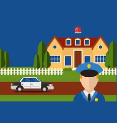 Police action security house system burglar alarm vector