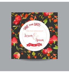 Pomegranates Flowers and Leaves Wedding Card vector