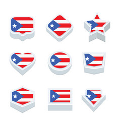 Puerto rico flags icons and button set nine styles vector