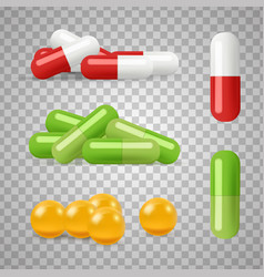 realistic pills drugs medications vector image