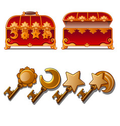red ancient chest with different golden keys vector image