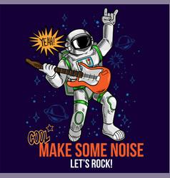 Rock star astronaut play music vector