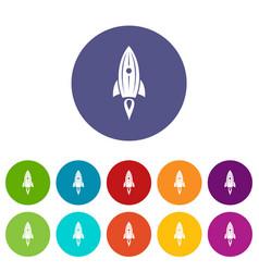 rocket space icons set color vector image