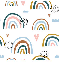 Seamless childish pattern with hand drawn rainbows vector