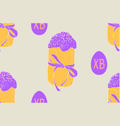 seamless easter cake and eggs vector image