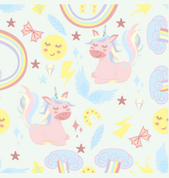 Seamless pattern with unicorn and rainbow vector
