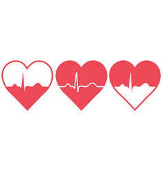 set hearts with blood pulse icons vector image