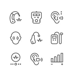 Set line icons hearing aid vector