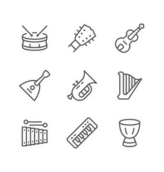 set line icons of music instruments vector image