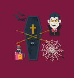 set of cute halloween elements objects vector image vector image