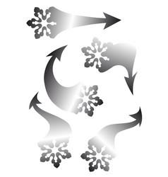 set of snowflakes arrow stickers vector image