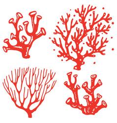 Set underwater coral reef plants vector